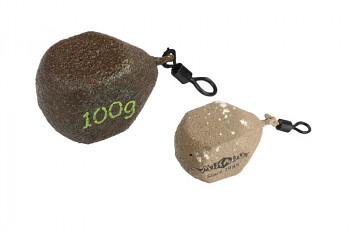 """KOSTKA """"CUBE"""" - olověná zátěž s obratlíkem (D.GREEN /SAND) /(60g - 140g) bal.10ks"""