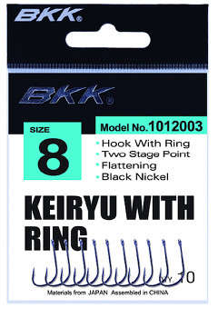 Háček BKK - KEIRYU s očkem vel. 4 BN černý nikl DIAMOND SERIES - 10 ks