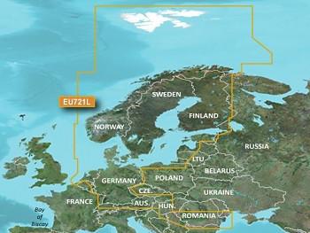 GARMIN VEU721L - 3D mapa moří severní Evropy, Bluechart G3 Vision, microSD/SD karta