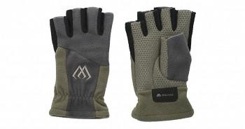 Rybářské rukavice fleecové půlprsty šedo/zelené - 1pár