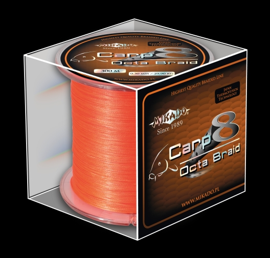 Pletená šňůra - CARP OCTA BRAID 020 ORANGE 1200M  18.10 kg