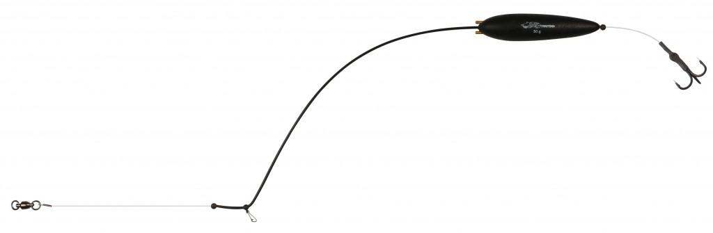 Návazec - EARTH WORM READY RIG RATTLE 50 g 90 cm - 1 ks trojháček: 2 + podvodní zvukový splávek, nosnost 78kg - 1 ks