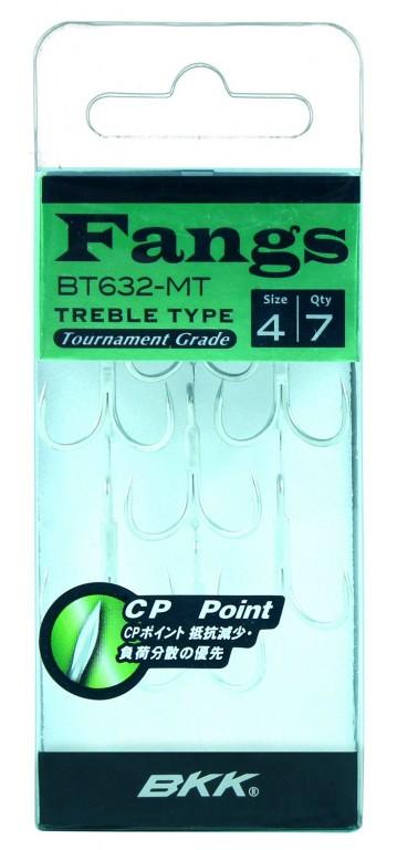 Trojháčky - BKK - FANGS 6063 2X CP - MATTE TIN / vel. 8 - 7ks