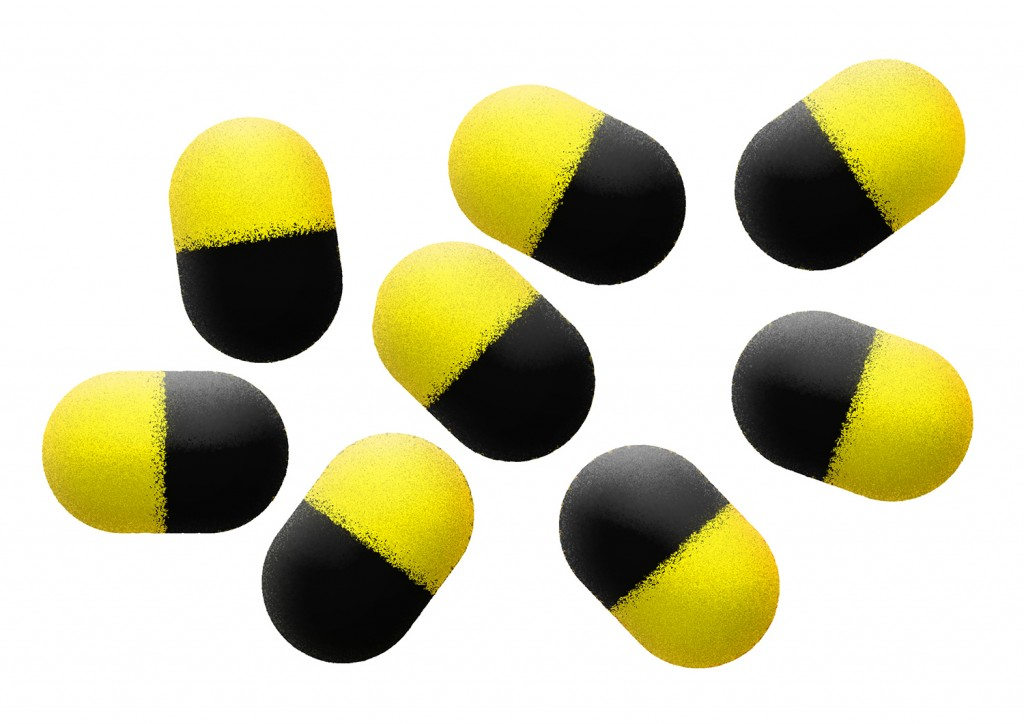 Pěnové plovoucí bolies - POP UP ZIG RIG FOAM BARRELS 12mm YELLOW/BLACK - bal.9ks