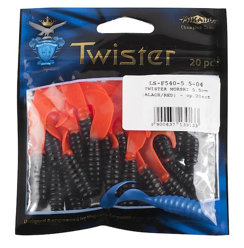 Mořská nástraha - TWISTER 5.5cm - 04 / 20 ks (černo/červená)