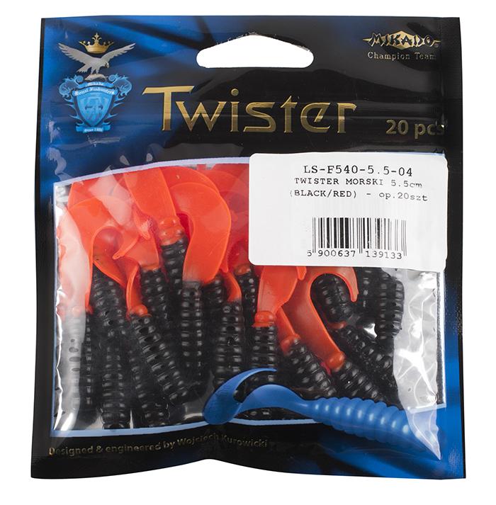 Mořská nástraha - TWISTER 7.5cm - 04 / 5 ks (černo/červená)